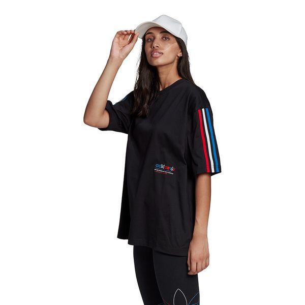 Camiseta-adidas-Tricolor-Oversized-Feminina-Preta